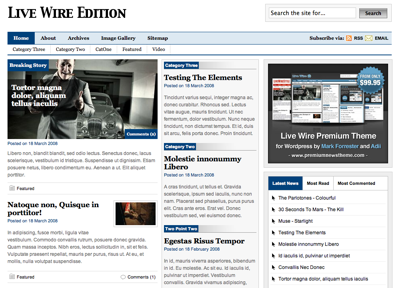 WordPress Themes: Live Wire Series