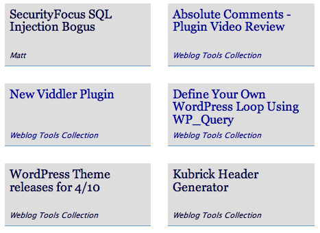 My Dashboard with Weblog Tools Collection