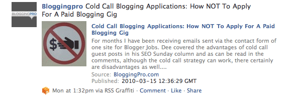 Facebook Pages for Your Blog, What Are You Waiting For? RSS Graffiti Is Your Friend