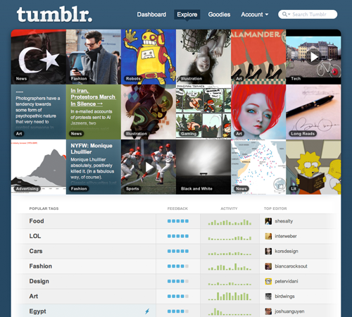 Tumblr Courting Tags Over Blog Directory?