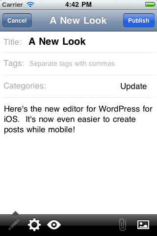 WordPress For iPhone Inherits A New Look