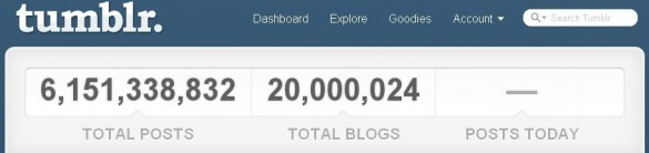 Tumblr Flys Past 20 Million Blogs