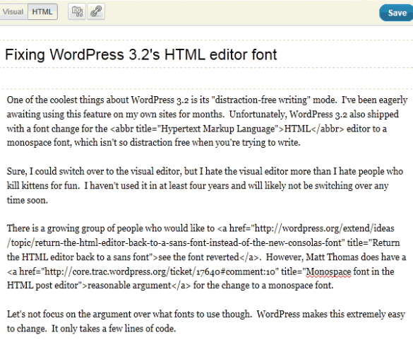 Change WordPress 3.2 Editor Font