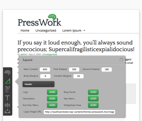 PressWork, A Free HTML5 Drag & Drop Framework for WordPress