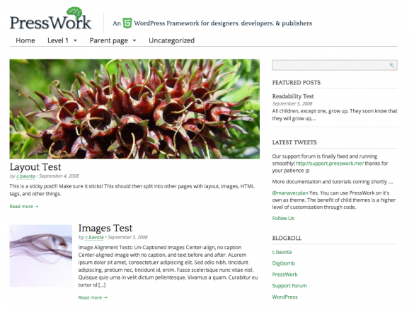 PressWork WordPress HTML5 Framework