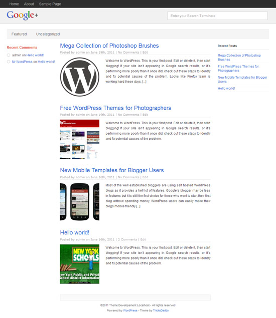 WordPress Google+ Theme by Tricksdaddy