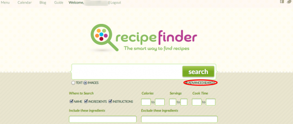 Recipe Finder Advanced Search