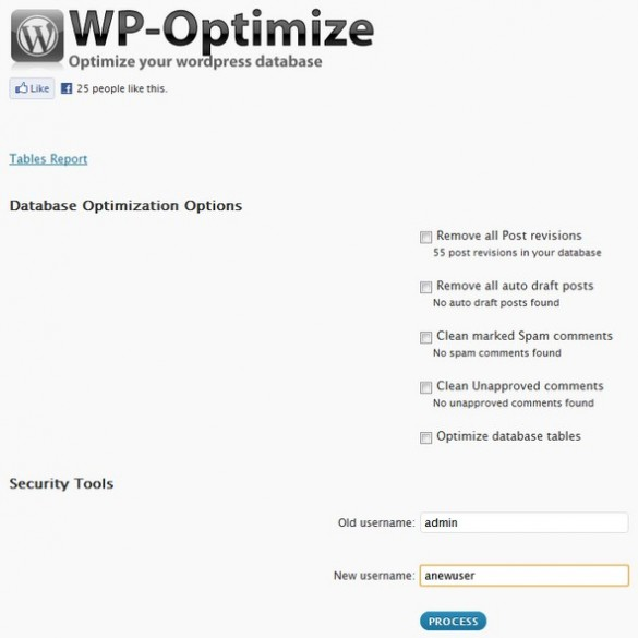 WP Optimize Screenshot