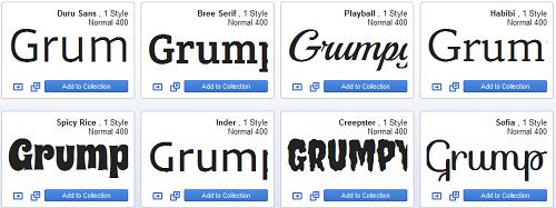 Google Web Fonts Examples