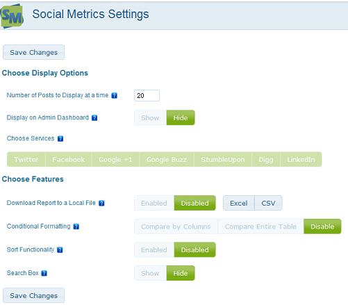 Social Metrics Pro Settings