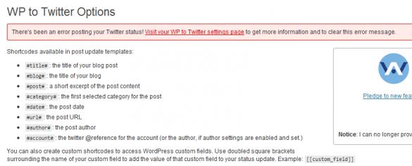 WP To Twitter Main Description