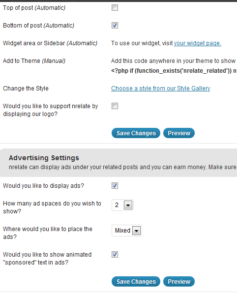 NRelate Final settings