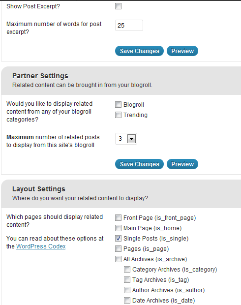 NRelate Layout Settings