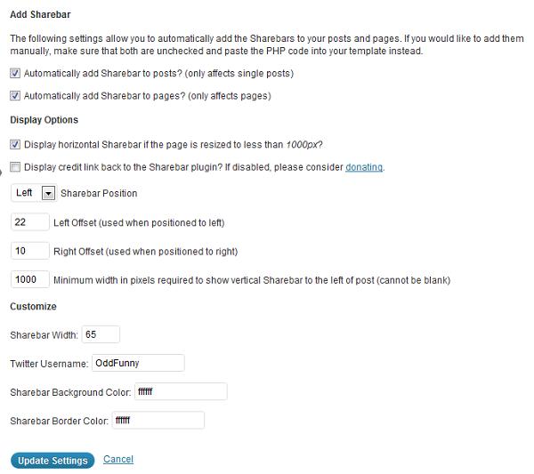 ShareBar WordPress Display Settings