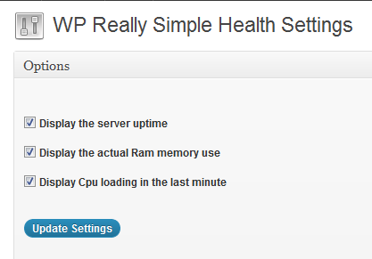 WP Really Simple Health Plugin Settings
