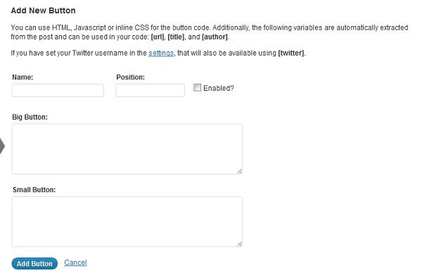 Wordress Sharebar Add New Button Settings