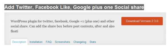 Add Twitter, Facebook Like, Google Plus One Social Share Plugin For WordPress
