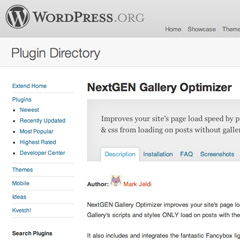 NextGen Gallery Optimizer For WordPress Speeds Up Pages By Eliminating Non-Used Scripts