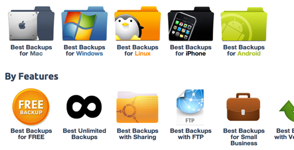 bestbackups.com homepage features choices cloud storage