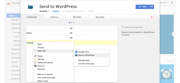 "Export Google Docs to WP Posts with ""Send to WordPress"" Chrome Extension"