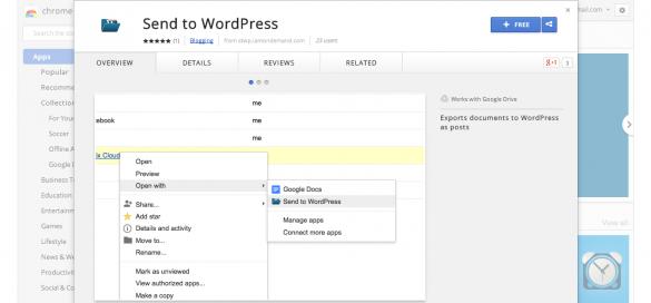 Send to WordPress Chrome