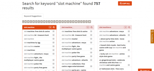 Search for keyword  slot machine  found 757 results   Keyword Tool