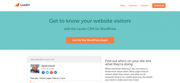 Leadin   Free WordPress CRM   Lead Tracking Plugin