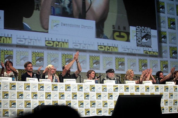 "Pedro Pascal, Nikolaj Coster-Waldau, Gwendoline Christie, Rory McCann, Maisie Williams, George R. R. Martin, Natalie Dormer, Sophie Turner and Kit Harrington speaking at the 2014 San Diego Comic Con International, for ""Game of Thrones"", at the San Diego Convention Center in San Diego, California. Photo by Greg Skidmore."