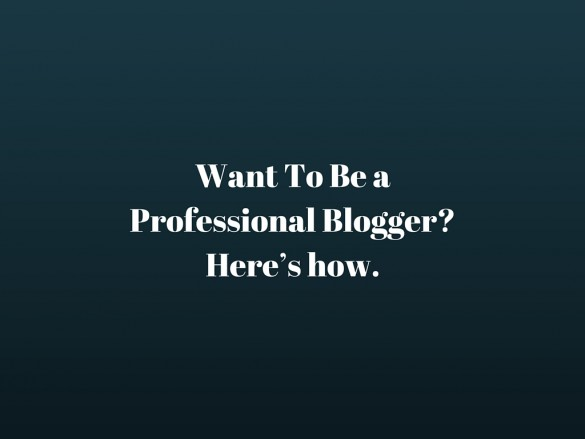 Want To Be a Professional Blogger? Here's how.
