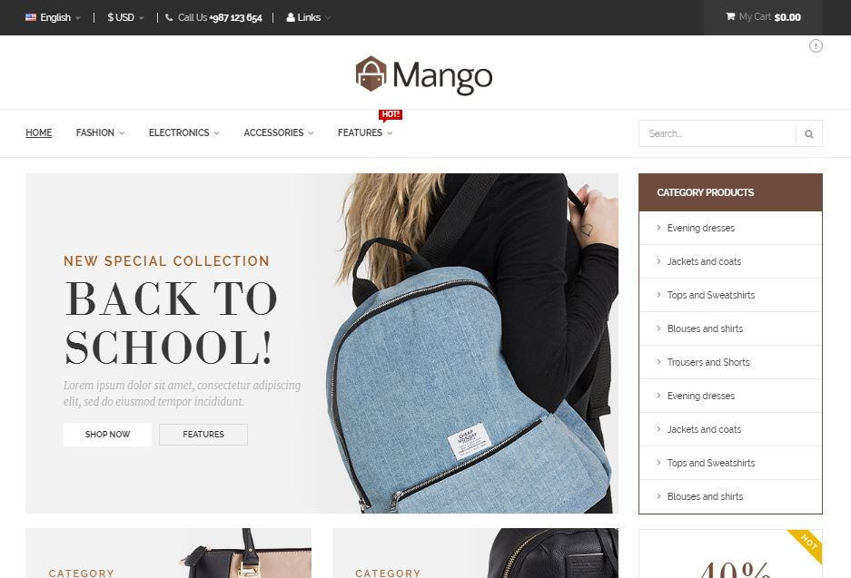 Mango Magento theme