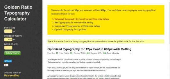 Golden Ratio Typography Calculator