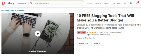 "A screenshot of Udemy | From BloggingPro.com's ""Where Can I Learn How To Blog (Like a Pro) For Free?"""
