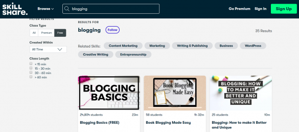 "A screenshot of SKILLSHARE | From BloggingPro.com's ""Where Can I Learn How To Blog (Like a Pro) For Free?"""