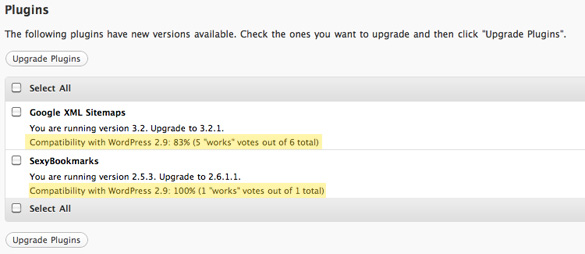 WordPress 2.9 Plugin Upgrader